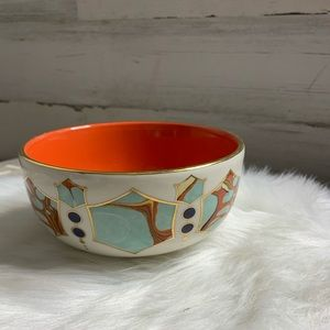 Anthropologie porcelain lion bowl golden edges